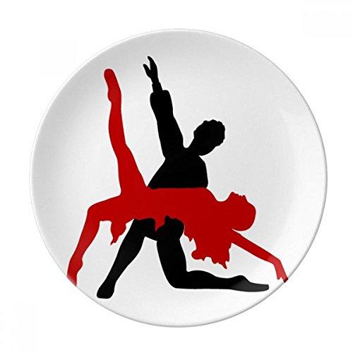 DIYthinker Art Duo Danse Danse Sociale Plaque décorative Porcelaine Dessert 8 Pouces Dîner Accueil Cadeau 21cm diamètre Multicolor