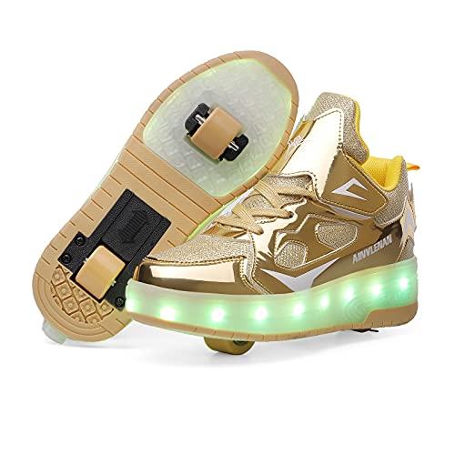 GGBLCS Zapatillas con Ruedas para Niños Niña LED Luces Zapatos 7 Colores Luminosas Flash Zapatos de Deportivo 2 Rueda Patines Zapatos de Skateboard con USB Carga,Oro,36 EU