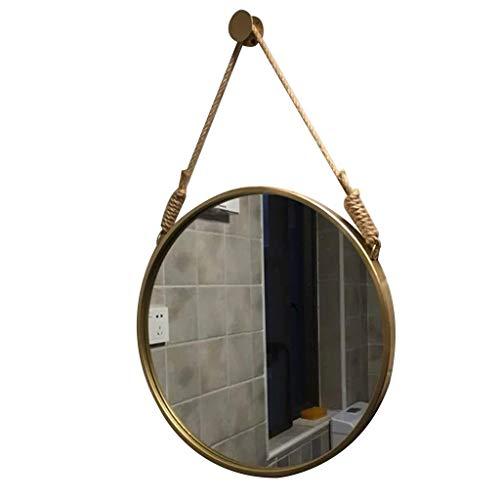 DERUKK-TY Espejo de pared colgante para dormitorio, marco de metal, redondo, decoración única para el hogar, para baño, oficina o pasillo (color: dorado, tamaño: 50 cm)