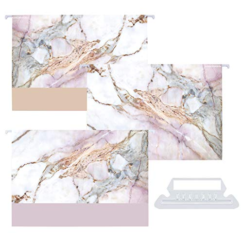 GOGODUCKS Decorative Hanging File Folders, Rose Gold,Letter Size with 1/5-Cut Adjustable Tab Durable Three Cute Marble Design Assorted, 12pcs Per Box