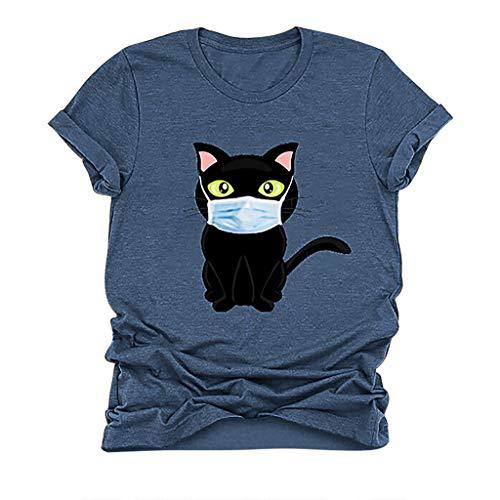 MOTOCO Damen Grafik T-Shirts Casual Kurzarm Rundhals Tops Stilvoll Bedruckte Bluse Oberteile(5XL.Blau-2)