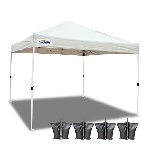 Goutime 3x3M Tonnelle De Jardin Tente Pavillon,Pliante Tente Imperméable Popup-Pavillon Et Sac de Transport avec Roues
