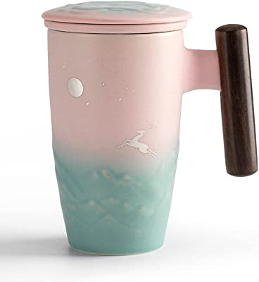 "TANG PIN Painted ""Moonlight Deer"" Ceramic Tea Cup with Infuser and Lid, Wooden Handle Tea Mug, 13.5 OZ (Pink&Green)"