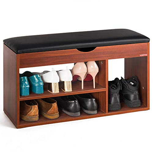 Mr IRONSTONE Shoes Bench Boot Organizing Upholstered Shoe Rack Entryway Storage 2-Tier 1- Hidden Compartment