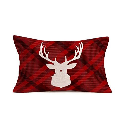 LOOU Christmas Reindeer Throw Pillow Cover Retro Red Plaid Background Winter Home Decor Pillow Cover Animal Deer Lumbar Farmhouse Pillow Cases Decorative 20x30 Inch Cotton Linen(C 12)