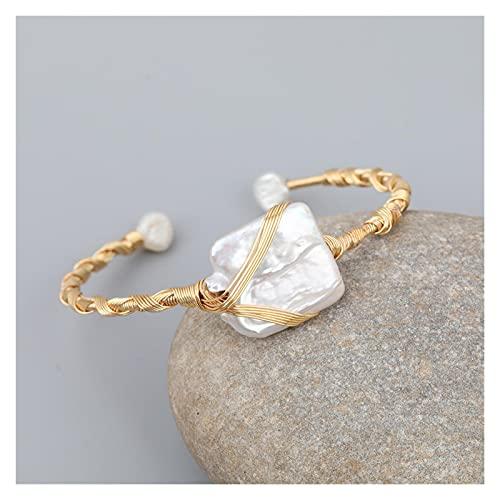 LYNLYN Pulseras Turquesa Natural Beads Chunky Bead Pulsera Abierta Pulsera para Las Mujeres Baroque Pearl Beads Open Bracelet Bangle Jewelry como Imagen (Color : A)