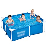 Piscinas Rectangulares con Marco De Metal Piscina con Marco Rectangular for Jardines, Niños Adultos Piscina Plegable De PVC Engrosado (Color : Blue, Size...