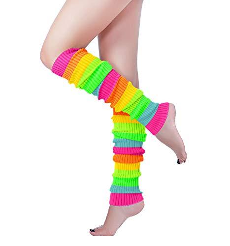 Long Leg Warmer, V28 Women's Men 80s Party Ribbed Knit Dance Sports (61color 1)