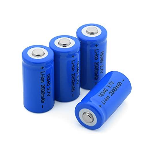 TTCPUYSA Batteria agli Ioni di Litio da 3.7v 2000mah 16340, Ricaricabile per Torcia Frontale con Microfono Power Bank 4pcs