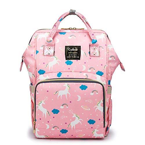 Volwco Beste luiertassen 2019, Zwangerschap Baby luier veranderen tassen multifunctionele Travel Rugzak met geïsoleerde zakken en opknoping wandelwagen gesp, grote capaciteit, waterdicht en duurzaam, eenhoorn roze