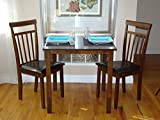 Rattan Wicker Furniture 3 Pc Dining Kitchen Set of Square Table and 2 Classic Warm Solid Wooden Chairs, Dark Walnut