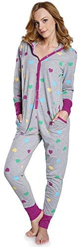 Italian Fashion IF Combinaison Pyjama Grenouillère Vêtements d'Intérieur Femme IF180012 (Melange, M)