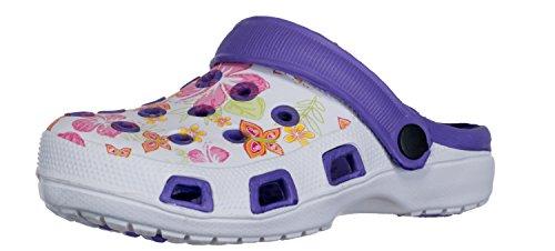 Brandsseller Damen Clogs Pantoffel Schuhe Gartenschuhe Hausschuhe - Rot/Weiß, Gelb/Weiß und Blau/Weiß mit Muster Gr. 36-41 Gemustert (40, Lila/Weiß)