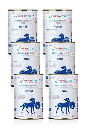 MERAVITAL Renal Hundefutter nass 6 x 400 g für Hunde bei Nierenerkrankungen - Niedriger Gehalt hochwertiger Proteine zur Entlastung der Nierenfunktion