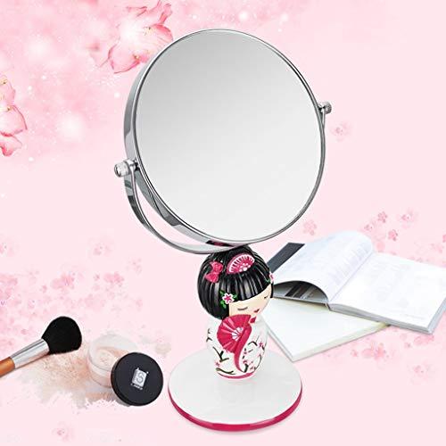 QXHELI bureauspiegel voor make-up, dubbelzijdig, modieus, Kimono van kunsthars, draagbare spiegel (kleur: Wedding Doll)