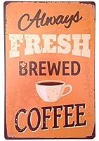 新しいアンティークメタルスズロゴフレッシュコーヒーアウトドアストリートガレージとホームバーホテル壁飾りロゴ12X8インチ