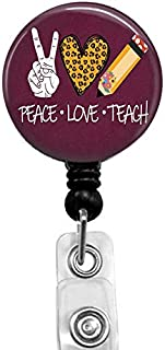 Peace Love Teach Badge Reel,Retractable Name Card Badge Holder with Alligator Clip, Medical MD RN Nurse Badge ID, Badge Ho...