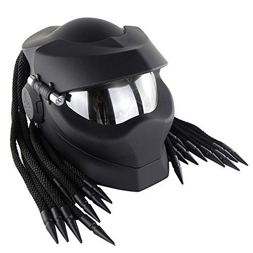 Schwarzer Cooler Predator Motorradhelm,Persönlichkeit Alien Warrior Dekorative Lampe Integralhelm Mit Klappe,DOT ECE Zertifizierter Helm, Four Seasons Unisex,M