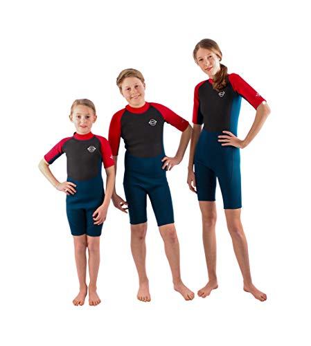 THE WETSUIT FACTORY Kids 2.5mm Neopren Shorty Blue/red Neoprenanzug Neo Kinder Schwimmanzug Swimm Jungen und Mädchen (Blue/red, 9/10Y)
