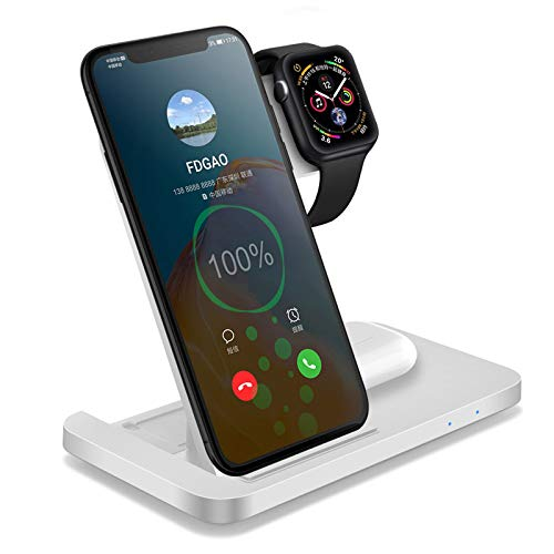 ALLWIN Carga Rápida Inalámbrica, Cargador 3 En 1, para Airpods 2/1 Apple Watch Series 6/5/4/3/2/1, iPhone 12/11 / XR/XS/X / 8, Samsung, Android