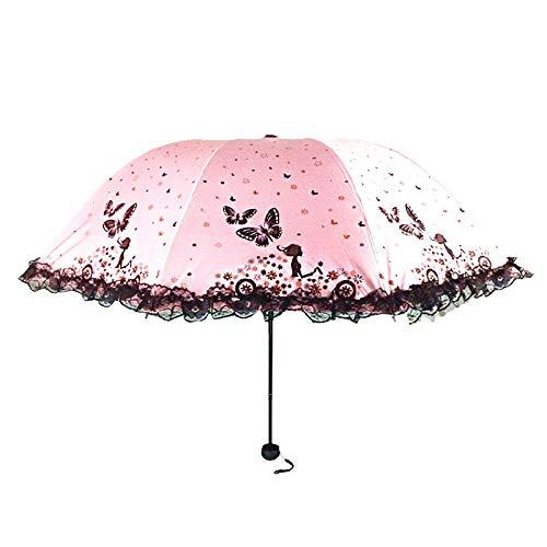 Ombrello da viaggio compatto Lady Butterfly Girl Lace telaio antivento rinforzato robusto ombrello portatile ad asciugatura rapida anti-UV