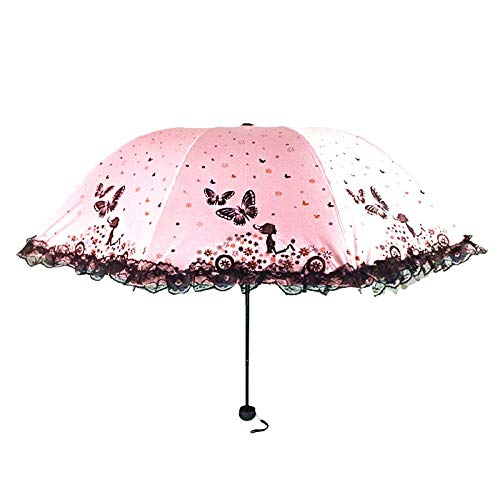 Lady Vlinder Meisje Kant Compact Reizen Paraplu Versterkte Winddicht Frame Stevige Draagbare Paraplu Sneldrogende Anti-UV roze