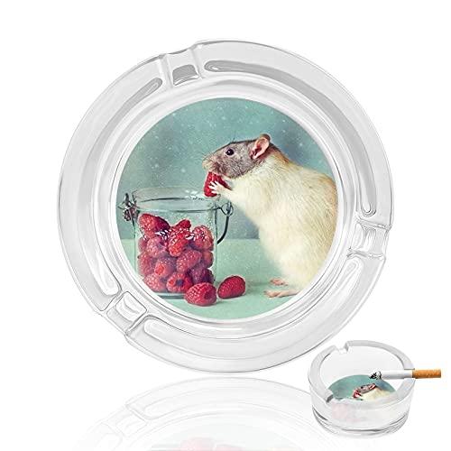 灰皿 はいざら Ashtray タバコ灰皿 マウス 果物を食べることを盗む アッシュトレイ 高級 かわいい 滑り止めパッド付き 丸型 卓上 ガラス材 創意 大容量 スタイリッシュ ユニーク インテリア 業務用 透明 洗いやすい オフィス 耐久性 ホーム 自宅