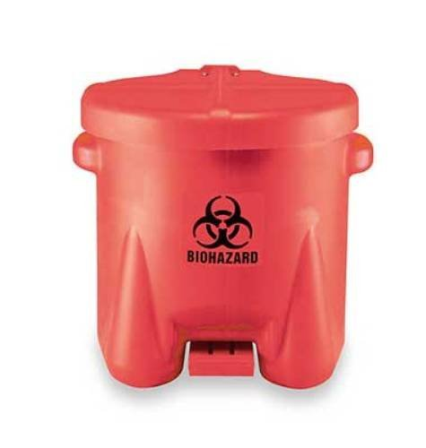 Eagle 945BIO Biohazardous Waste Polyethylene Safety Can with Foot Lever, 10 Gallon Capacity, Red - (Pack of 4)