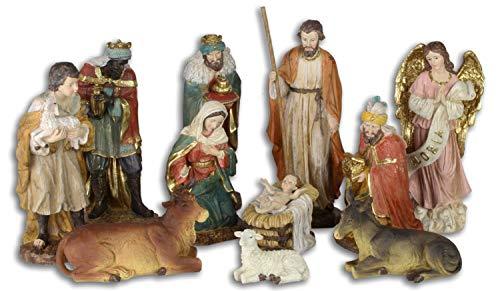 Aubaho 11 Piezas Figura de Pesebre Navidad belén Estilo Antiguo Pinta