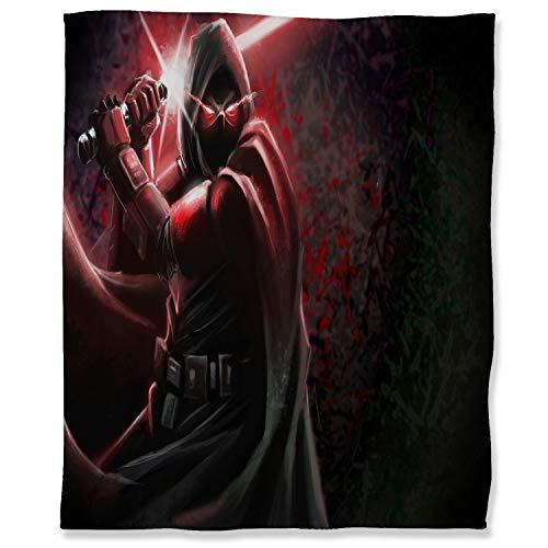 Manta de franela de franela de 180 x 230 cm, diseño de Star Wars Fuzzy Franela Manta para adultos niños o mascotas, Art Sith lado oscuro