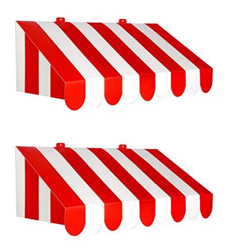 レッド/ホワイト 2ピース 3Dオーニング壁装飾 (24.75インチ x 8.75インチ)