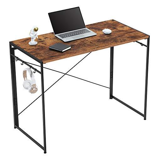 Yifeel Escritorio de ordenador de 100 cm, escritorio de oficina en casa, mesa de oficina con 8 bonos, escritorio de trabajo plegable, escritorio de PC, rústico marrón+negro UFCD007RB
