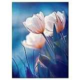 Diy 5D Pintura Diamante Por Número Kit,Tulipán blanco Diamond...