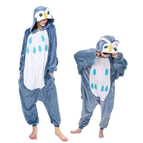 Debaijia Kinder-Pyjama aus Flanell/ Jumpsuit für Jungen und Mädchen, Warme Nachtwäsche, 3 bis 11Jahre Gr. 95(Hauteur recommandée: 100-110cm), Eule dunkelblau