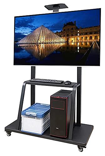 TabloKanvas Soporte de TV con almacenamiento y estante para TV de 43 a 75 pulgadas, moderno carrito de TV móvil ajustable con ruedas de bloqueo (color negro)
