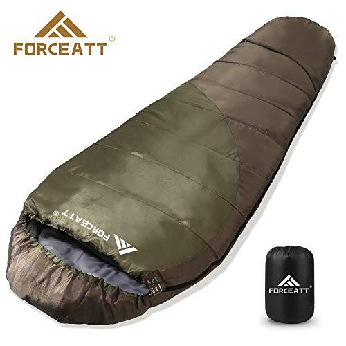 Forceatt Mummy slaapzak (voor 1-2 seizoenen), gebruik temperatuur 41 °F-68 °F, volwassenen en kinderen rugzak reizen slaapzak, lichtgewicht en dun, scheur- en waterdicht, geschikt voor wandelen, camping