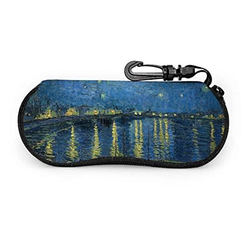 Estuche para gafas Starry Night Over The Rhone de Vincent Van Gogh Estuches para gafas Estuche suave para anteojos para mujer Estuche ligero portátil para gafas de sol para mujer, 17x8cm