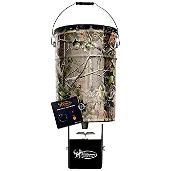 Wildgame Innovations Pail Feeder Real Tree Camo Steel 50-Lbs.