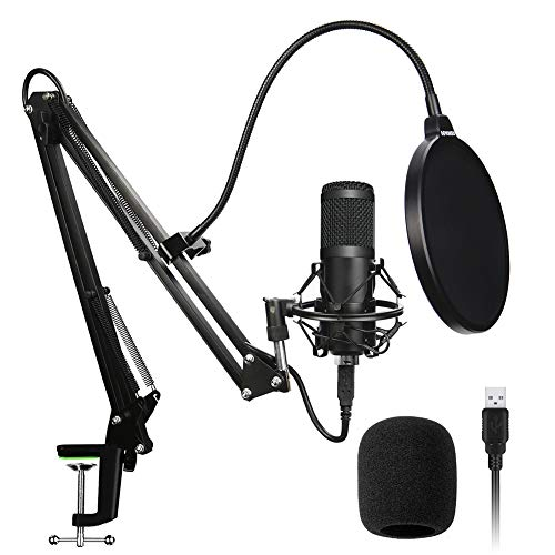 DHQSS USB microfoon, Professionele Studio Cardioid Condenser Mic Kit met Sound Card Desktop Stand Shock Mount Pop Filter, voor Skype PC Youtuber Gaming Opname
