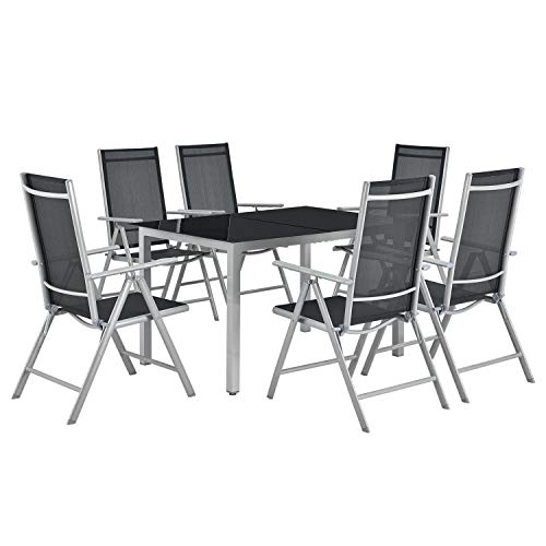 ArtLife Aluminium Gartengarnitur Milano | Gartenmöbel Set mit Tisch und 6 Stühlen | Silber-grau mit schwarzer Kunstfaser | Alu Sitzgruppe Balkonmöbel