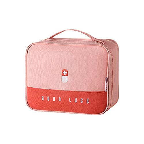 Aidou Bolsa de medicina para el hogar de tela de arte de gran capacidad engrosada caja de medicina portátil bolsa de almacenamiento multifuncional en capas caja de medicina (rosa)