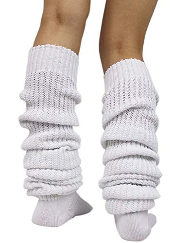 Women's Slouch Socks Long Leg Warmers Over Knee Thigh High Ribbed Knit Loose Stockings Lolita (23.6Inch/60cm)