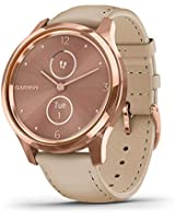 Garmin vivomove Luxe, Hybrid Smartwatch with Real Watch Hands and Hidden Color Touchscreen Displays, Rose Gold with Light Sand Leather Band