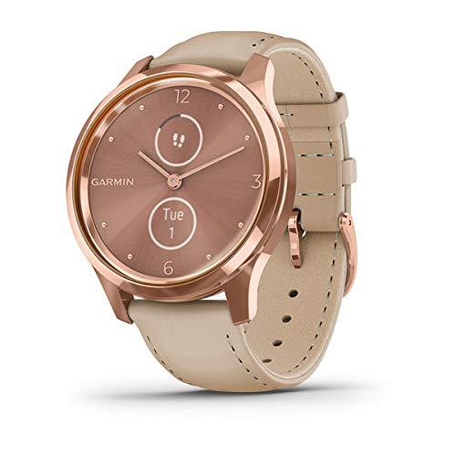 Garmin vivomove Luxe Smartwatch mit Lederband Beige 010-02241-01
