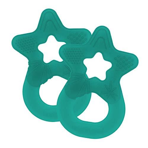 Dentistar® Beißstern - 2er Set Beißring für Baby & Kleinkinder - Zahnungshilfe massiert das Zahnfleisch - extra weich & flexibel - ab 3 Monaten - Made in Germany - BPA frei Tannen Grün