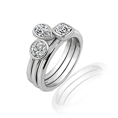 Diamonbliss Sterling Silver Bezel Cubic Zirconia Set 3-pc. Stack Ring Set - Size 5