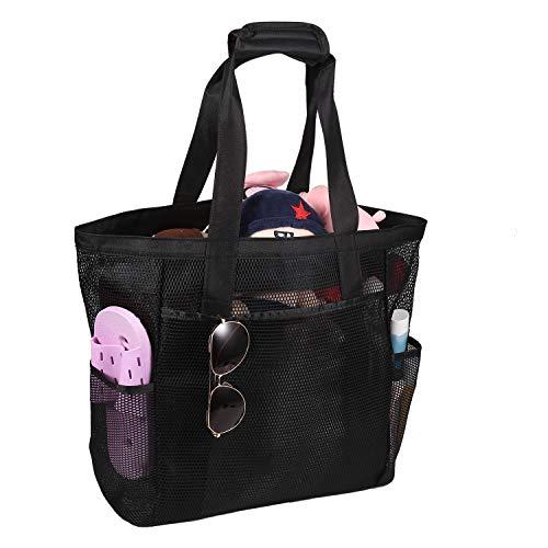ROSA&ROSA Mesh Strandtasche Extra Große Faltbare Einkaufstaschen für Familie Urlaub Baden Shopper Reise Picknick (Black)