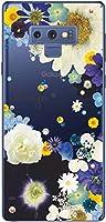 Galaxy Note9 SCV40 スマホケース ギャラクシーノート9 カバー らふら スワロフスキー 名入れ 押し花風 フラワーアレンジブルー