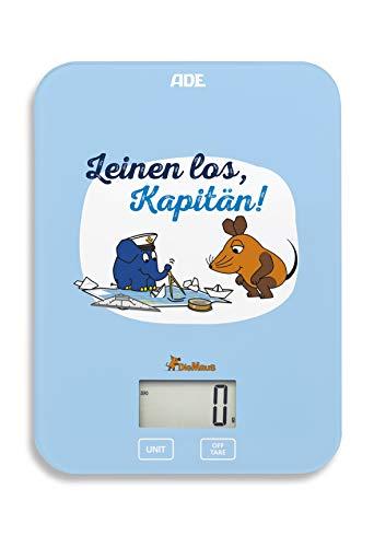 """Die Sendung mit der Maus - Küchenwaage \""""Leinen los\"""" (Digitale Waage für Küche und Haushalt, präzise und grammgenau bis 5 kg, mit Batterie) blau"""