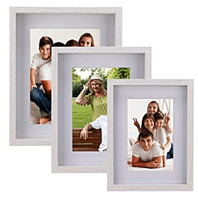 Picture Frames White Collage Set of 3 – Display Pictures 4x6, 5x7 & 6x8 with Mat or 6x8, 7x9 & 8x10 without Mat – Wood Tabletop & Wall Mount Photo Frames Set for Kitchen Gallery Wall Decoration